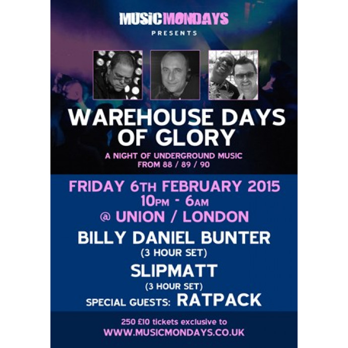 Warehouse Days Of Glory... Tickets on sale now
