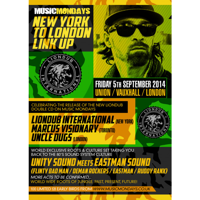 Music Mondays & LionDub present   NEW YORK TO LONDON LINK UP